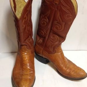 Beige brown cowboy boots